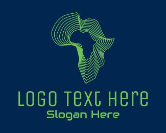 African - African Tech Map  logo design