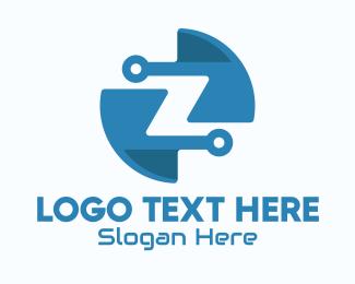 Processor - Blue Tech Letter Z logo design