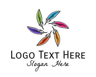 Publishing - Multicolor Feathers logo design