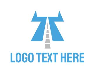 Alpahbet - Highway Letter T logo design
