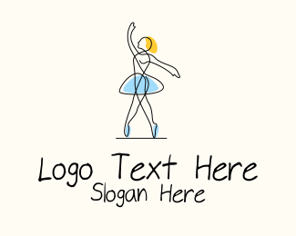 Dancing - Ballet Dancer Monoline logo design