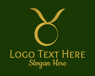 Prediction - Gold Taurus Horoscope Symbol logo design