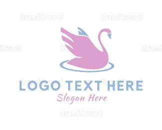 Blue And Pink - Pink Swan logo design