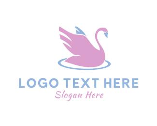 Swan - Pink Swan logo design