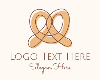 Boulangerie - Brown Pretzel Line Art logo design
