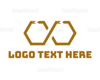 Egyptian - Hexagonal Snake logo design