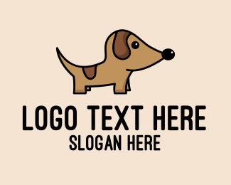 Brown Dog - Dachshund Pup Dog  logo design