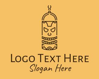 Totem Pole - Totem Pole Cooking Outline logo design