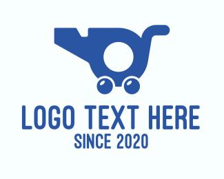 Referee - Blue Whistle Shopping Cart logo design