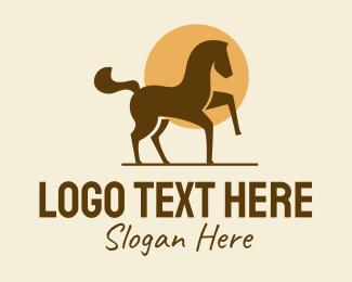 Horse - Equine Horse Sun logo design