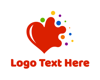 Pride - Colorful Splash Heart logo design