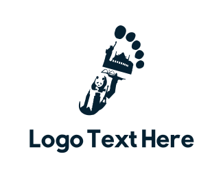 Panda - Traveler Footprint logo design