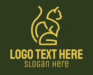 Sitting - Gold Sitting Cat logo design