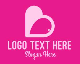Date - Pink Heart Dating App logo design