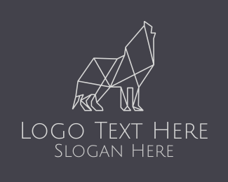 Wildlife Conservation - Geometric Minimalist Grey Wolf logo design