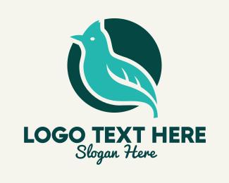 Peace - Blue Bird Perched logo design