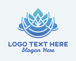 Holistic - Massage Therapy Blue Flower logo design