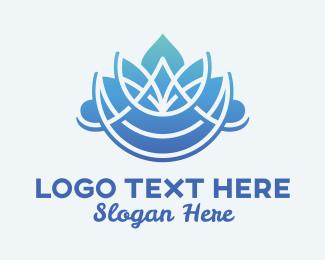 Zen - Massage Therapy Blue Flower logo design