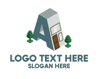 Blue Print - Modern Building Letter A logo design