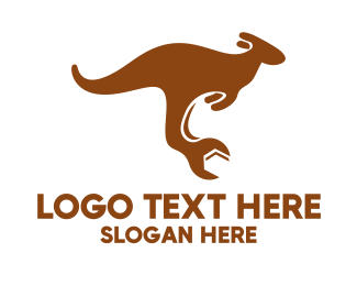 Aussie - Mechanical Fix Kangaroo logo design