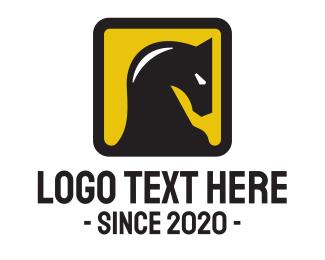 Horse - Yellow Square Horse logo design