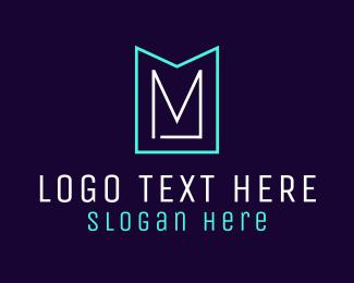 Neon Light - Minimalist M Emblem logo design