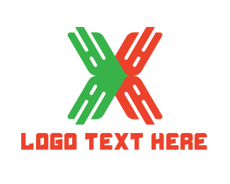 Hacking - Green Red Tech X logo design