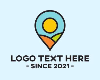 Mountain Top - Outdoor Location Pin logo design