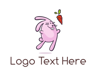 Pink Rabbit - Rabbit Carrot logo design