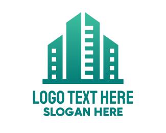 High Rise - Green City Building logo design