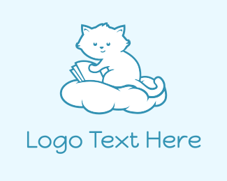 White Book - Cloud Cat Kitten Reading logo design