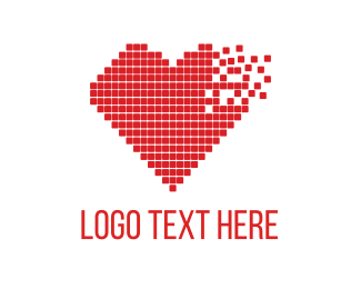 Computer - Red Pixel Heart logo design