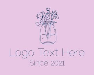Jar - Flower Jar Arrangement logo design