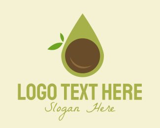 Takeaway Cup - Organic Avocado Droplet logo design