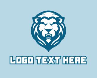 Blue Lion Mascot  Logo