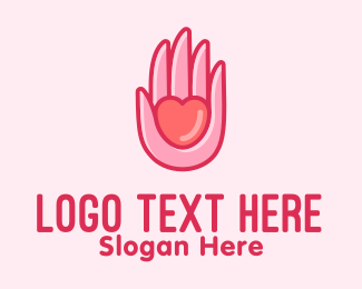 Care - Pink Caring Hand logo design