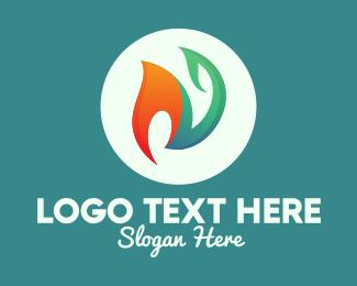 Element - Fire & Leaf logo design