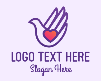 Social Worker - Purple Caring Hand Dove logo design