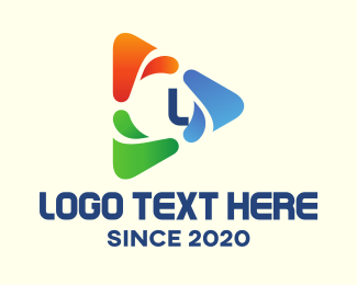 Triangular - Triangular Multicolor Paint Lettermark logo design