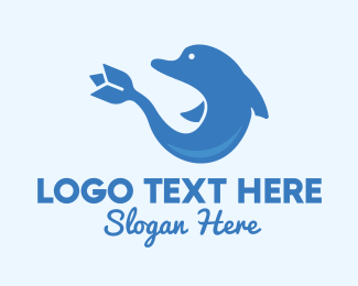 Zoo Animal - Blue Flower Dolphin logo design