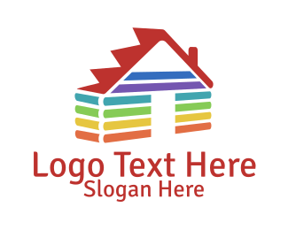 Mortgage And Real Estate Rainbow House logo design