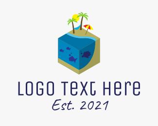 Resort - Isometric Island Resort logo design