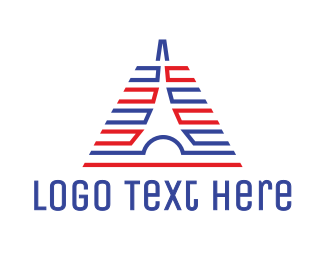 French - Abstract Lined Tower logo design