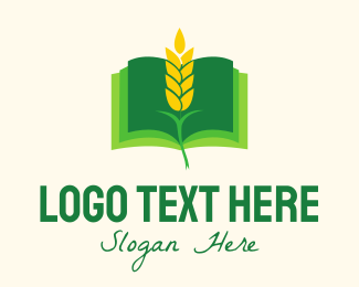 Oat - Agricultural Wheat Book logo design