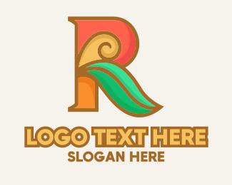 Theatre - Art Deco Leaf Letter R logo design
