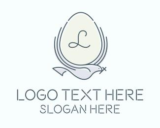 Egg Hunting - Egg Dove Bird Letter logo design