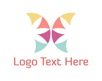Pretty - Floral Butterfly logo design