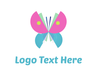 Blue And Pink - Cute Butterfly logo design