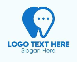 Contactless - Blue Dental Chat App logo design