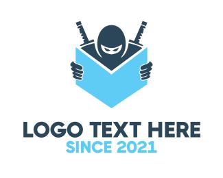 Samurai - Ninja & Book logo design